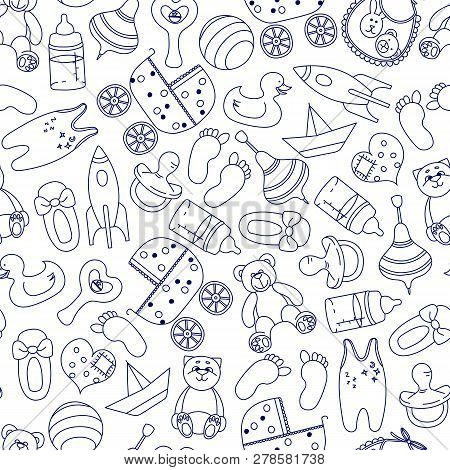 Toys Seamless Pattern. Figure Doodle Blue On A White Background For Children: Soft Toys, Rocket, Duc
