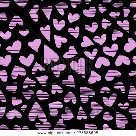 Hand drawn ink hearts seamless pattern , sketchy artsy, calligraphy nib drawing poster