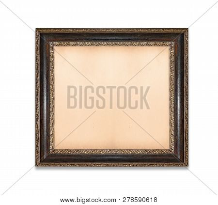 Vintage Old Picture Frame With Old Blank Canvas On A White Background.