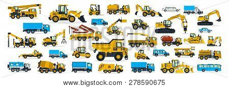A Large Set Of Construction Equipment, Transportation For The Construction Site, Cargo Truck, Bus, E