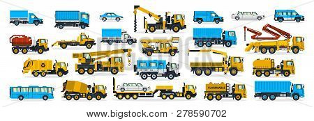 A Large Set Of Construction Equipment, Wheeled Transport. Cars Serving The Construction Site. Crane,