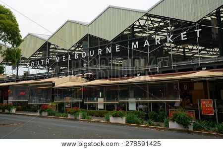 5th January 2019, Melbourne Australia : Exterior View Of South Melbourne Market With Name In Melbour