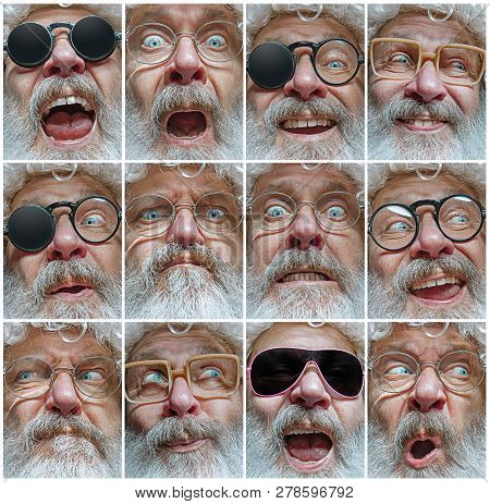 The Different Human Emotions Or Emotional Face Of Santa Clause In Glasses. The Christmas, Holiday, E