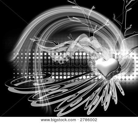 Black and white illustration Valentine's day abstract design. poster