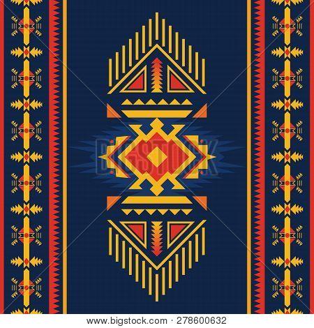 Ethnic Seamless Pattern. Native American Southwest,  Navajo, Aztec  Geometric Ornament. Tribal Vecto