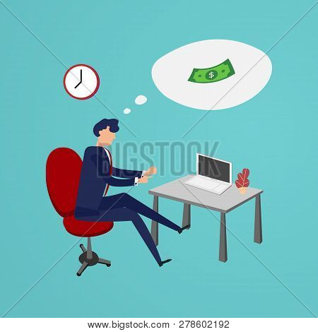 Businessman Working Overtimes To Making Money In Office. Flat Design And Character Design Concept. B