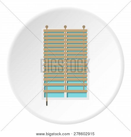Window With Wooden Jalousie Icon In Flat Circle Isolated Illustration For Web