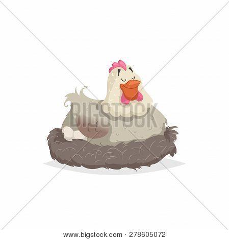 Cartoon Happy White Hen Nestling. Motherhood, Easter Illustration. Flat With Simple Gradients Design