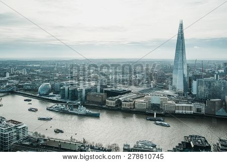 London, Uk - January 13, 2019: Panoramic View Of London And Shard, The Highest Building In The City.