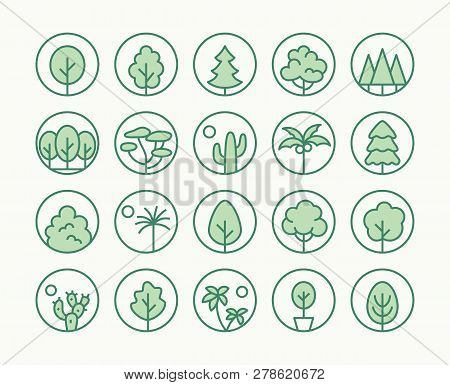 Trees, Plants Freen Line Icon. Vector Illustration Flat Style. Included Icons As Fir Tree, Palm Park