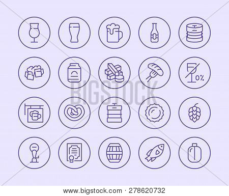 Beer Line Icon. Vector Illustration Flat Style. Included Icons As Bar Signboard, Snacks, Non-alcohol