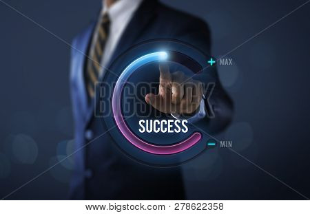 Success In Business Or Personal Success Concept. Businessman Is Pulling Up Circle Progress Bar With