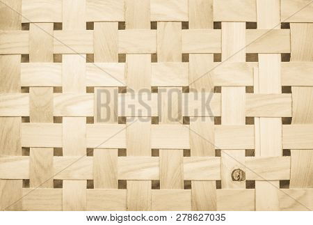 Woven Wooden Strips Pattern Or Wickerwork Bamboo Texture Background.