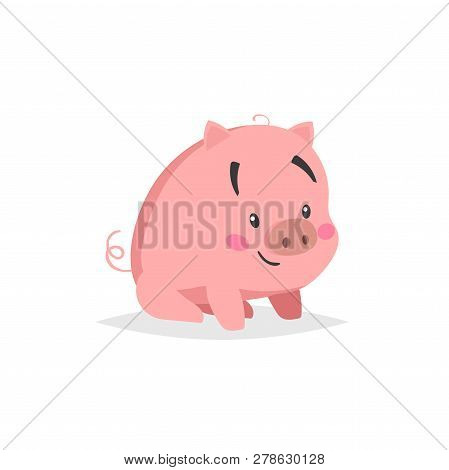 Cartoon Cute Pig. Sitiing And Smiling Little Piglet With Funny Face. Domestic Animal Character. Vect
