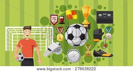 Soccer Play Horizontal Concept. Cartoon Illustration Of Soccer Play Banner Horizontal For Web