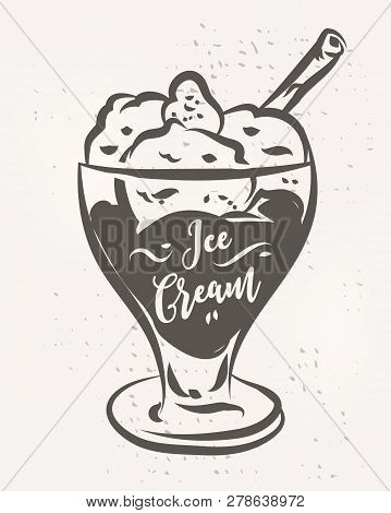 Vector Hand Drawn Ice Cream Poster. Vector Stock Illustration.
