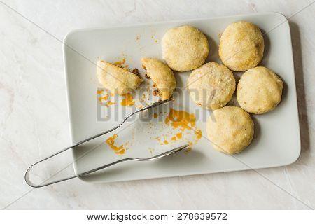 Stuffed Meatballs With Minced Meat Icli Kofte / Boiled Kibbeh / Turkish Traditional Haslama Food Fal