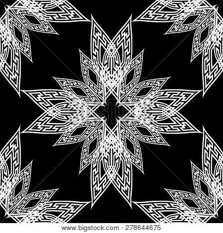 Ornamental Black And White Vector Greek Seamless Pattern. Geomet