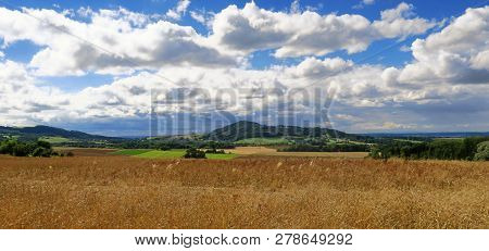 View Of Autumn Landscape - In The Foreground Of Dried Yellow Grass, Greenery, Mild Hillside With For
