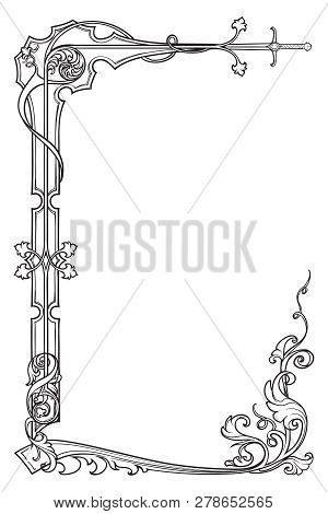 Medieval Manuscript Style Rectangular Frame. Vertical Orientation. Eps10 Vector Illustration