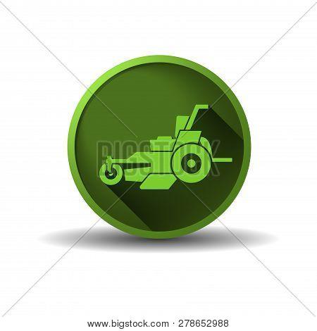 Lawn Mower Grass Keeper Vector Logo Green Circle