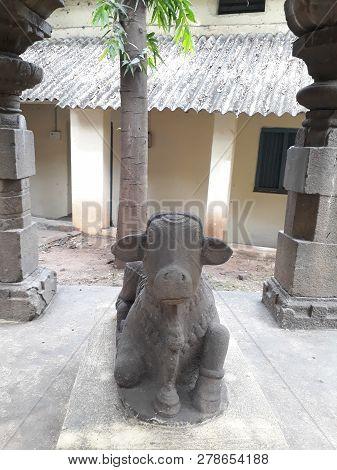 Stone Carved Nandi Bull Satue In Rajahmundry