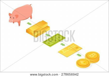 Money Evolution Isometric Concept. From Barter To Cryptocurrency. Vector Illustration