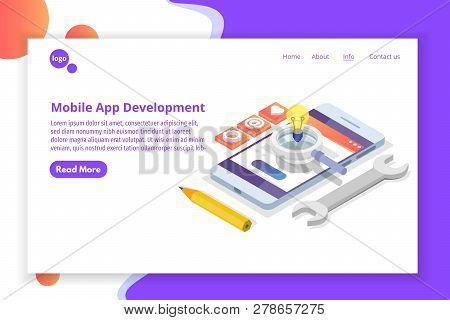 Mobile App Development Isometric Concept.  Landing Page Template. Vector Illustration.
