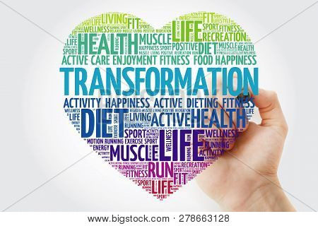 Transformation Heart Word Cloud With Marker, Fitness, Sport, Health Concept