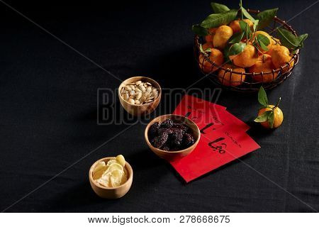 Amazing Of Vietnamese Food For Tet Holiday In Spring, Tangerine And Jam Is Traditional Food On Lunar