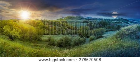 Panorama Of Time Change In Springtime Countryside With Sun And Moon. Grassy Hills And Meadows. Trees