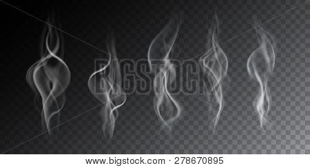 Realistic Illustration Of Haze, Cigarette Smoke Or Steam Over A Hot Drink, Isolated On A Transparent