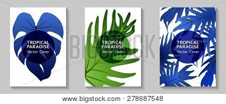 Tropical Paradise Leaves Vector Covers Set. Fashionable Floral A4 Design. Exotic Tropic Plant Leaf V