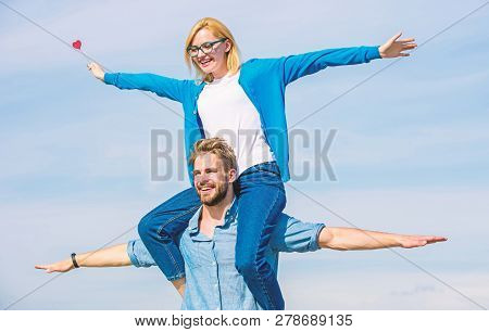 Freedom Concept. Couple In Love Enjoy Feeling Freedom Outdoor Sunny Day. Couple Happy Date Having Fu