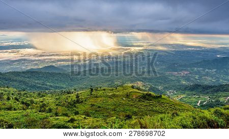 High View Beautiful Nature Landscape Of The Mountain Sky Forest And The Rain Is Falling Sunlight Shi