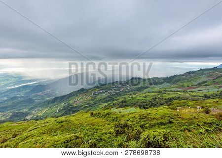 High View Beautiful Nature Landscape Of The Mountain Forest Cloud And The Rain Is Falling On The Roa