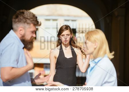 Its Not My Fault. Romance Triangle And Adultery. Jealous Woman Blaming Unfaithful Man For Having A L