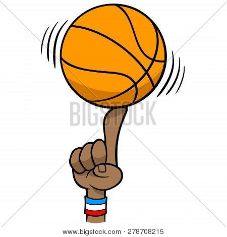 Basketball Spinning On Finger - A Vector Cartoon Illustration Of A Basketball Spinning On Finger.
