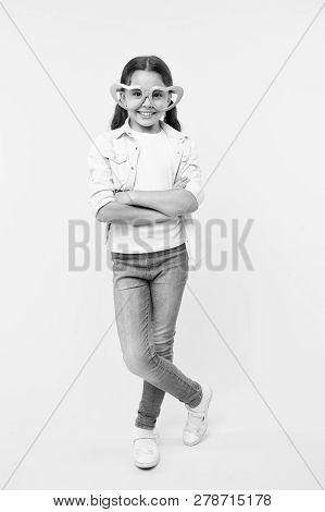 Kid Girl Heart Shaped Eyeglasses Look Confident. Girl Wear Cute Eyeglasses Confident Face. Child Con