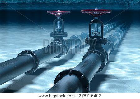 Pipeline Lying On Ocean Bottom Underwater. 3d Rendering