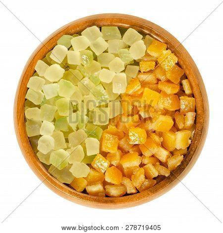 Succade And Candied Orange Pee In Wooden Bowl. Diced, Preserved And Crystallized Peel Of Oranges And
