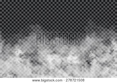 Smoke Clouds On Transparent Background. Realistic Fog Or Mist Texture Isolated On Background. Transp