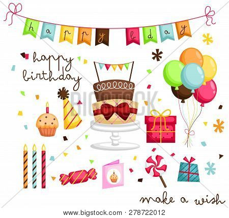 A Birthday Image With Many Objects Inside It