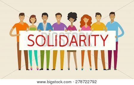 People holding blank banner. Solidarity, cohesion, unity concept. Vector illustration poster