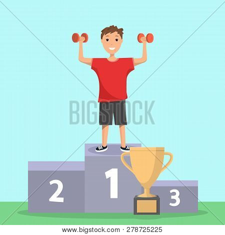 Happy Boy Rejoices In Victory Sport Competition. Smiling Child Stand Sport Winner Podium Holding His