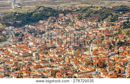 Kalabaka Greek Town Orange Building Roofs, Aerial View, Kalampaka, Trikala, Thessaly, Greece