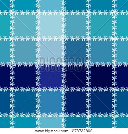 Seamless Checkered Plaid Cute Small Flowers Pattern Background