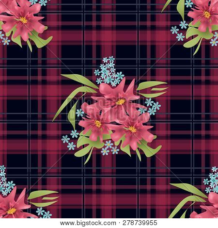 Seamless Floral Pink Flowers On Checkered Plaid Pattern Background