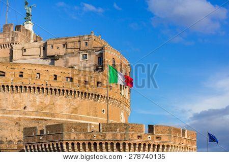 Italian flag on the Saint Angel Castle in Rome.