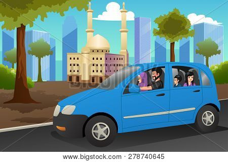 A Vector Illustration Of Muslim Family Driving In A Car